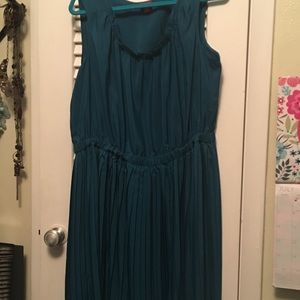 Xhileration Turquoise Pleated Dress